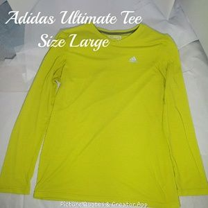 Adidas Ulitmate Long Sleeve Tee Neon Yellow Size L